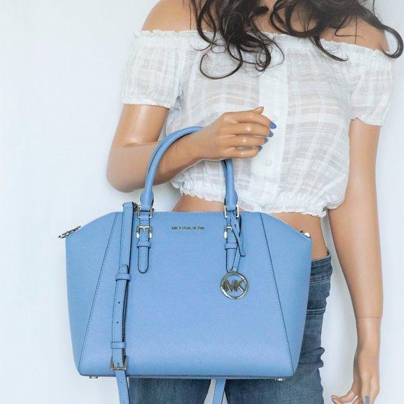 Michael Kors Handbags - Michael Kors Ciara L Satchel Bag French Blue